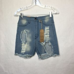 Aphrodite Light Wash Distressed Cutoff Jeans Short